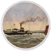 Past On The Medway Round Beach Towel