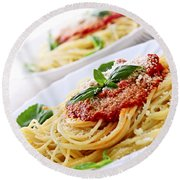 Pasta And Tomato Sauce Round Beach Towel