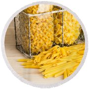 Pasta Shapes Still Life Round Beach Towel by Edward Fielding