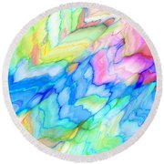 Pastel Abstract Patterns V Round Beach Towel