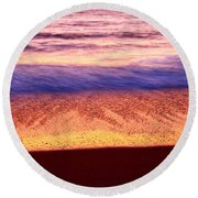 Pastel - Abstract Waves Rolling In During Sunset. Round Beach Towel