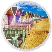 Pastel Beach Huts 2 Round Beach Towel