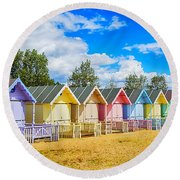 Pastel Beach Huts Round Beach Towel by Chris Thaxter