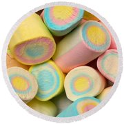 Pastel Colored Marshmallows Round Beach Towel