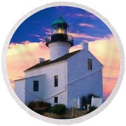 Pastel Drawing Old Point Loma Lighthouse Cabrillo National Monument California Round Beach Towel
