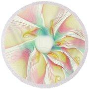 Pastel Flower Round Beach Towel
