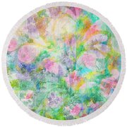 Pastel Flowers By Jan Marvin Round Beach Towel