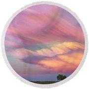 Pastel Painted Sunset Sky Round Beach Towel