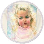 Pastel Portrait Of An Angelic Girl Round Beach Towel