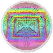 Pastel Rainbow Reverberations Round Beach Towel