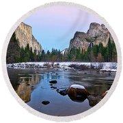 Pastel - Sunset View Of Yosemite National Park. Round Beach Towel