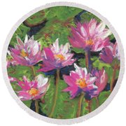 Pastel Water Lilies I  Round Beach Towel