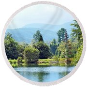 Pastoral Pond And Valley Round Beach Towel