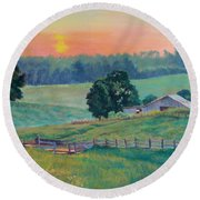 Pastoral Sunset Round Beach Towel
