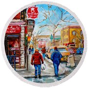 Pastry Shop And Tea Room Round Beach Towel