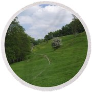 Pasture Land At Ashford-in-the-water Round Beach Towel