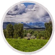 Pastures And Clouds  Round Beach Towel
