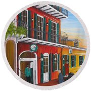 Pat O's Courtyard Entrance Round Beach Towel