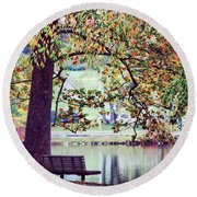 Patches Of Color Round Beach Towel