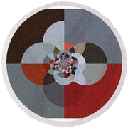 Patchwork Craze - Abstract - Triptych Round Beach Towel