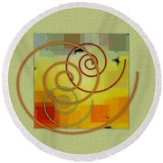 Patchwork I Round Beach Towel by Ben and Raisa Gertsberg