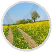 Path In Dandelion Meadow  Round Beach Towel