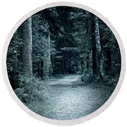 Path In Night Forest Round Beach Towel
