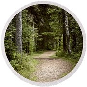 Path In Old Forest Round Beach Towel
