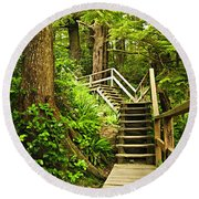 Path In Temperate Rainforest Round Beach Towel