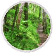 Path In The Forest Round Beach Towel by Jill Lang