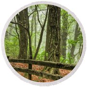 Path Into The Forest Round Beach Towel by Debra and Dave Vanderlaan