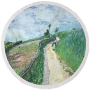 Path Leading To Ville D'avray Round Beach Towel