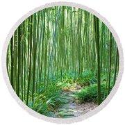 Path Through Bamboo Forest Round Beach Towel