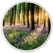 Sunrise Path Through Bluebell Woods Round Beach Towel