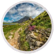 Path To Lake Idwal Round Beach Towel by Adrian Evans