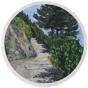 Path To L'eremo Sul Mare Round Beach Towel