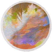 Path To Sunset Rock Round Beach Towel