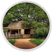 Path To The Barn Round Beach Towel