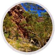 Path To The Gum Trees And Waterhole Round Beach Towel