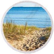 Path To The Lake Superior Beach Round Beach Towel