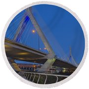 Path To The Leonard P. Zakim Bridge Round Beach Towel