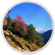 Path To The Mountains Round Beach Towel by FireFlux Studios