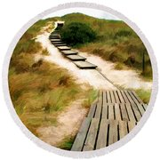 Path To The Sea Round Beach Towel
