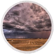 Path To The Storm Round Beach Towel