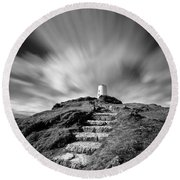 Path To Twr Mawr Lighthouse Round Beach Towel by Dave Bowman