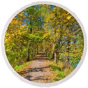 Pathway Along The Ohio And Erie Canal  Round Beach Towel