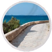 Pathway By The Sea Round Beach Towel