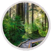 Pathway Into The Light Round Beach Towel