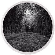 Pathway Through A Bamboo Forest Maui Hawaii Round Beach Towel