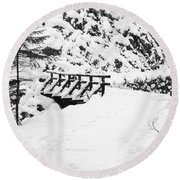 Pathway Through The Snow Round Beach Towel